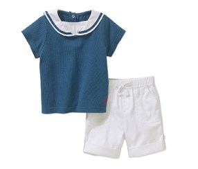 Quiltex Baby Boys' Sailor Top with Shorts Set, Navy/White