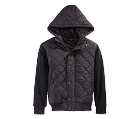 Ring of Fire Boys Layered-Look Quilted Jacket, Black