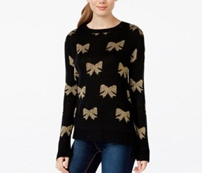 Rampage Juniors Shine Bow Pullover Sweater, Black Bows