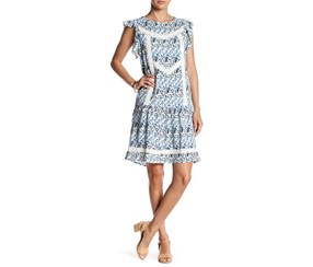 Romeo & Juliet Couture Floral Ruffle Shift Dress, Blue Combo