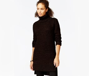Rachel Roy Metallic Turtleneck Tunic, Black