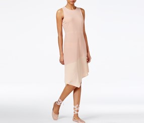 Rachel Roy Asymmetrical Combo Dress, Pink Opal