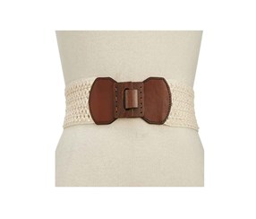Style & Co. Women's Stretch Woven Belt, Natural