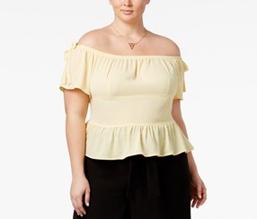 Trendy Plus Size Off-The-Shoulder Peplum Top, Yellow