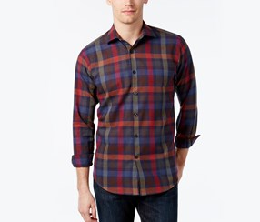 Tallia Mens Plaid Long-Sleeve Shirt, Multi