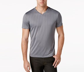 Alfani Men's Bar-Striped Performance T-Shirt, Boulder Gray
