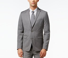 Mens Wool Notch Collar Two-Button Blazer, Light Grey