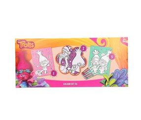 Dreamworks Trolls Coloring Set, Pink/White/Blue
