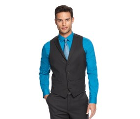 Alfani Vest Mini Stripe Slim Fit, Black