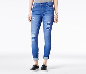 Juniors Rip and Repair Super Soft Jean, Blue
