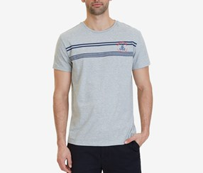 Nautica Men's Striped-Chest Cotton, Grey Heather