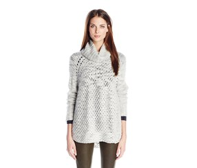 Sanctuary Women's Cozy Tunic Sweater,Heather Silver