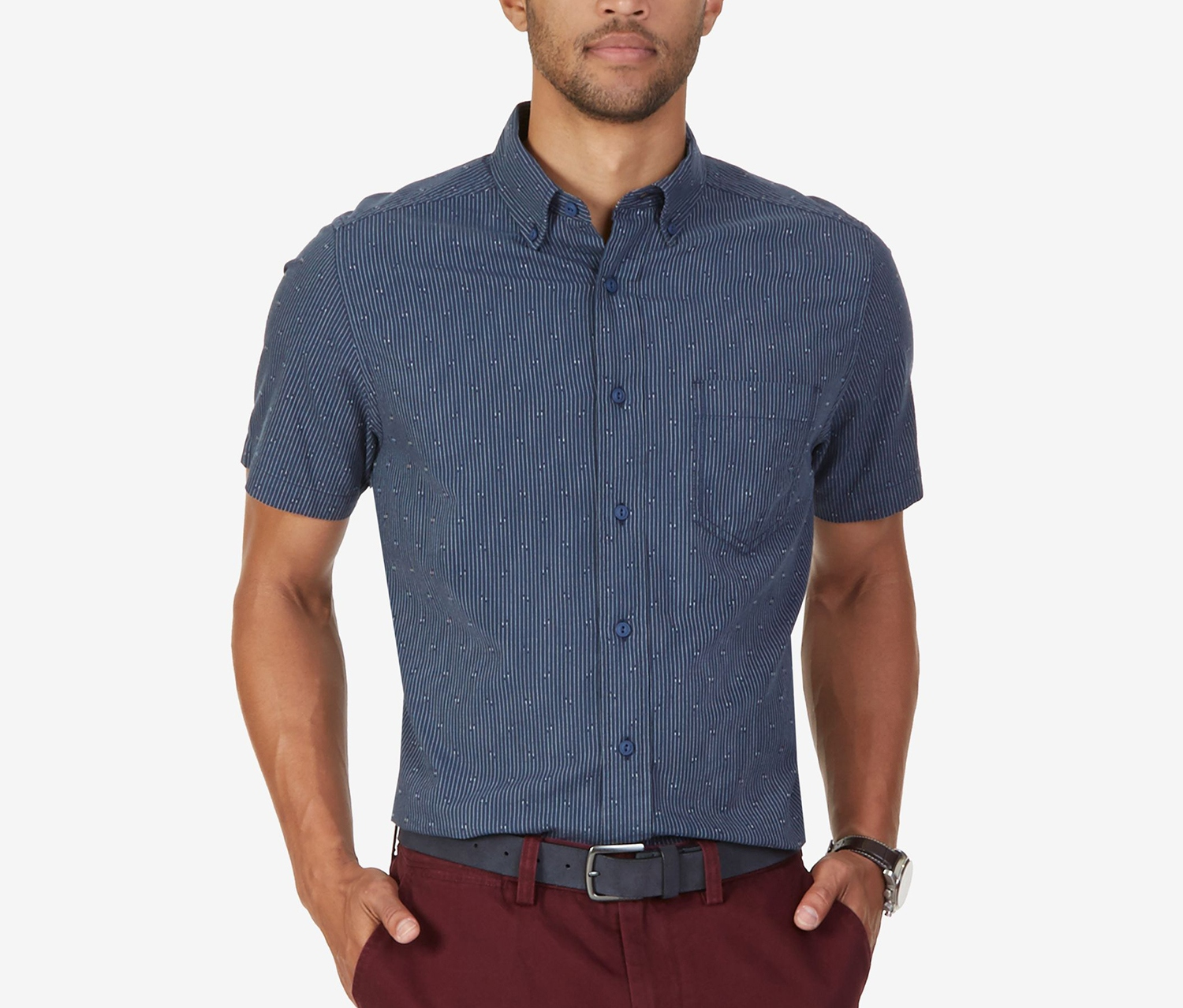 153bf879 Shop nautica Nautica Mens Dobby Short-Sleeve Shirt, Mood Indigo for ...