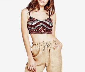Guess Liberty Embroidered Crop Top, Black Combo