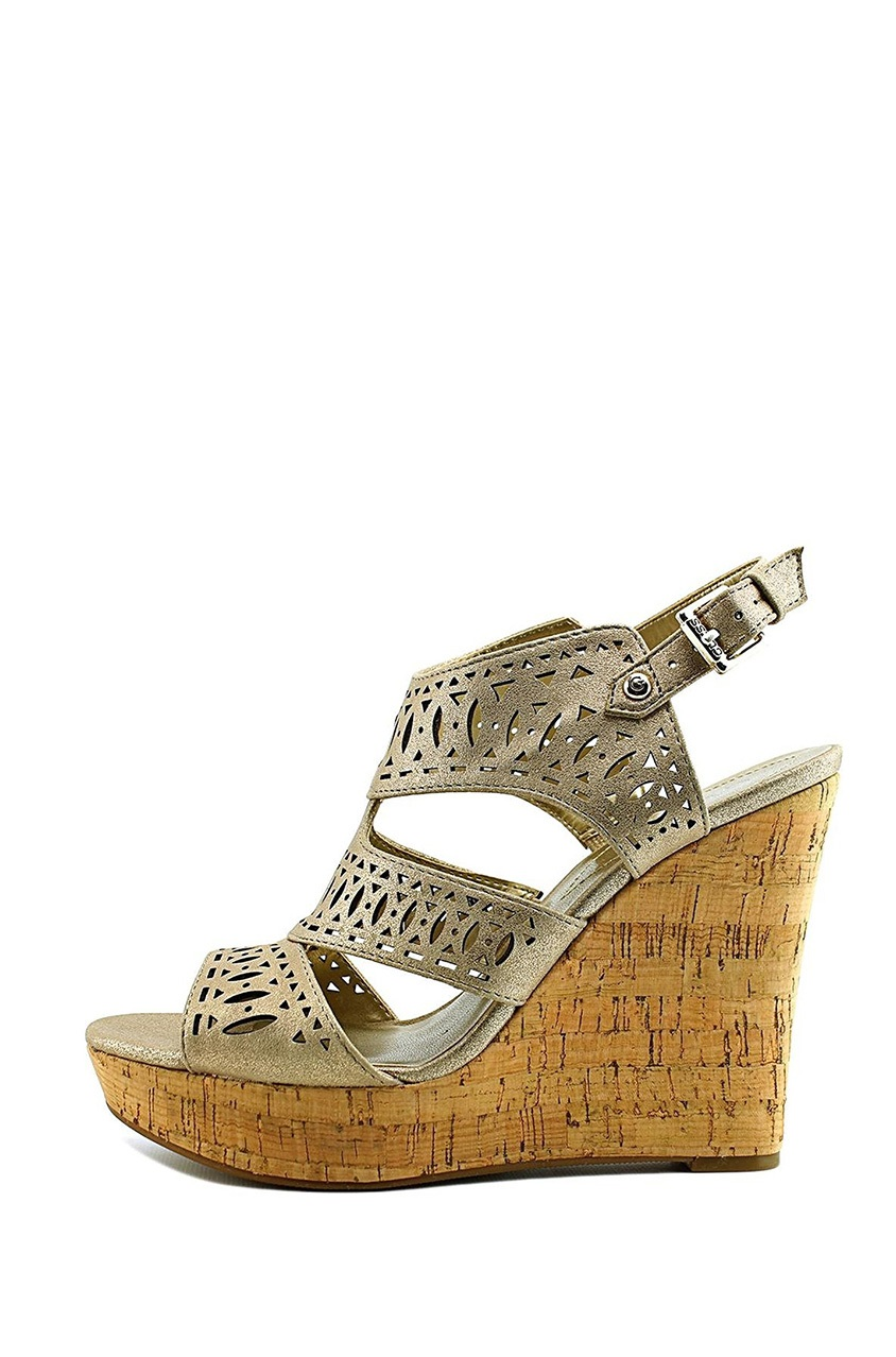 d62f190f180 Shop Guess Guess Vannora Open Toe Leather Wedge Heel