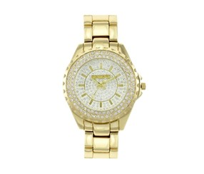 Tahari Womens Crystal Barcelete Watch, Gold