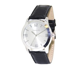 Tahari Mens Quartz  Three-arrow Watch, Silver/Black