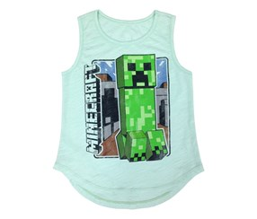 Mojang Girls' Minecraft Vintage Creeper Tee, Mint