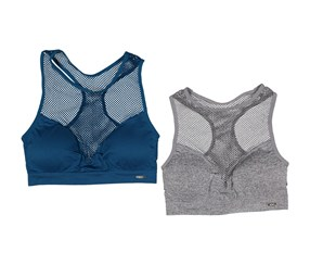 XOXO Women's 2 Pc. Sports Bra, Blue/Grey