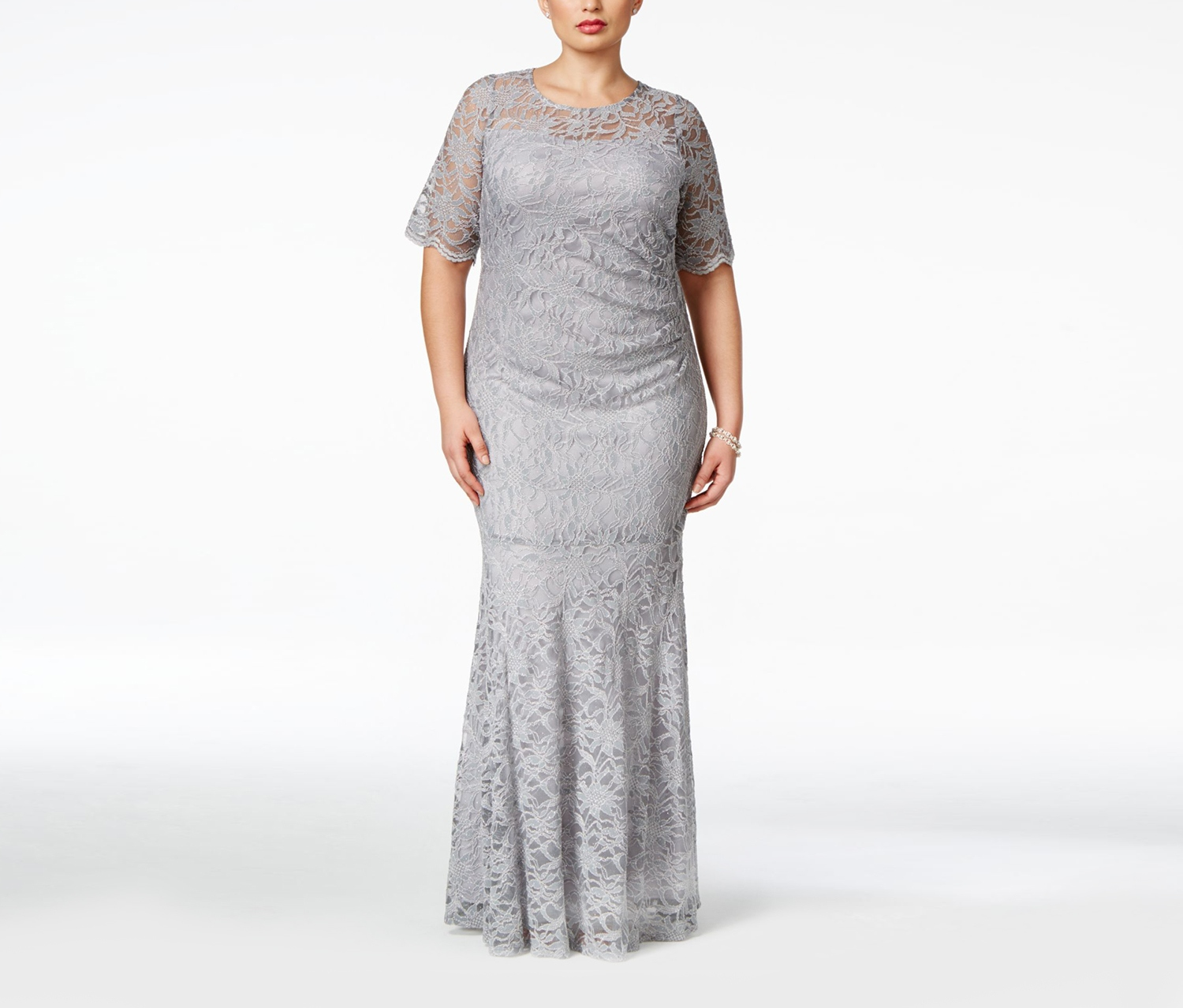 Xscape Plus Size Lace Shimmer Mermaid Gown, Grey - Brands For Less