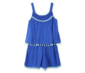Speechless Big Girls Pom Pom Popover Romper, Bright Blue