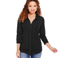 Almost Famous Three-quarter Sleeves Button Front Shirt,Black