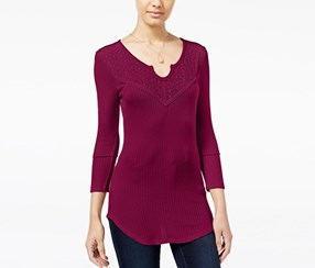 Almost Famous Juniors' Waffle-Knit Top with Lace-Back