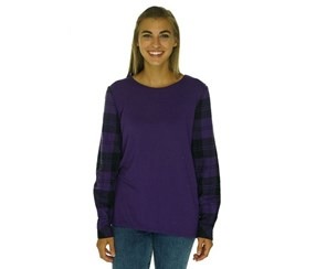 G. H. Bass & Co. Plaid Sleeve Crew Neck Top, Purple/Black
