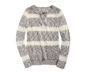 Pink Republic Striped Lace-Up Sweater, Ivory/Med Grey